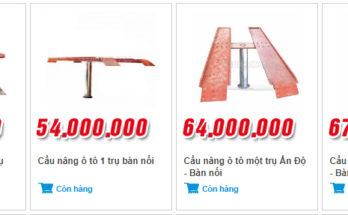 Giá một số loại cầu nâng ô tô tại Yên Phát